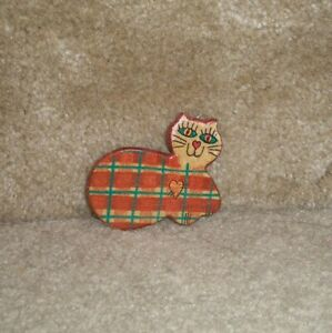 plaid cat clay pin, handmade
