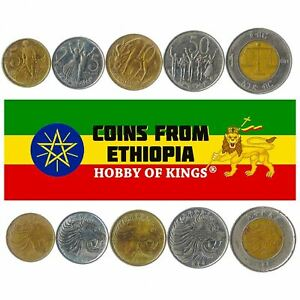 5 COINS FROM ETHIOPIA. 1977-2016. 5 SANTEEM - 1 BIRR. AFRICAN OLD MONEY