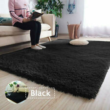 Fluffy Rug Anti-Slip Comfortable Shaggy Rug Soft Carpet Mat Black 60*120cm