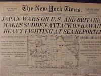 VINTAGE NEWSPAPER HEADLINE ~WORLD WAR 2 JAPAN PLANES ATTACK US BOMB HAWAII WWII