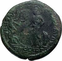 ELAGABALUS Ancient Nicopolis Roman Coin w ATHENA SERPENT ERICHTHONIUS i78562