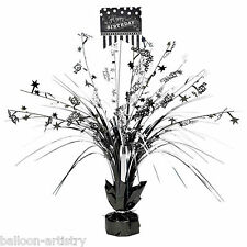 "18"" Classic Black & White Happy Birthday Party Table Centrepiece Decoration"