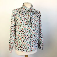 Eastex True Vintage Floral Botanical Pussybow Collared Shirt Blouse Size 10