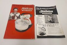 Sunbeam Mixmaster Recipes and Guide Book & Blender Attachment Booklet 1960's