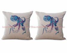 US SELLER- set of 2 Sea life marine octopus ocean animal cushion cover pillow