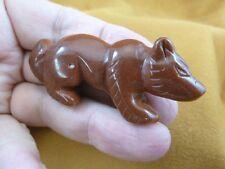 (Y-Fox-700) orange Fox Wolf wild dog gemstone carving Figurine I love sly foxes