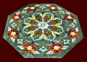 21 Inches Octagon Shape Coffee Table Top Marble Sofa Table Pietra Dura Art