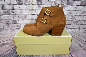 NWT WOMENS MICHAELS KORS LONI ANKLE BOOTIE LUGGAGE BURNISHED SUEDE SZ 6-10