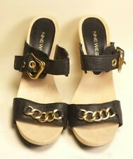 Nine West FlirtyNFun Black Gold Chain Leather Buckle Heels Women's Size 7.5 M