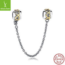 925 Sterling Silver Elegant LOVE Heart Safety Chain Charms Fit Necklace Pendants