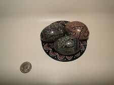 Lot of 3 Wooden Hand Painted Pysanky Eggs with Plate
