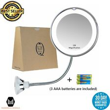 Bathroom Vanity Magnifying Mirror with Light Travel Mirror w/ Suction Cup Shower