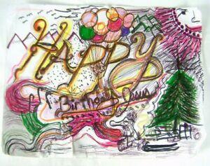 "ARTWORK RICHARD ""NO HANDS"" ELLIS Happy Birthday Jesus Drawing"