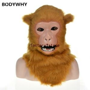 Brown Monkey Mascot Costume Can Move Mouth Head Suit Halloween Outfit Cosplay
