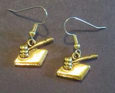 Judge's Gavel Earrings 24 Karat Gold Plate Justice Law