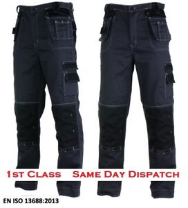 Professional Cargo Heavy Duty Work PRO Trousers Grey & Black Multi Pockets