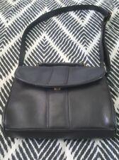 JOAN WEISZ Black Leather Shoulder Crossbody Bag Handbag