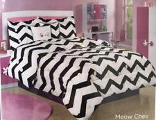 5 Pc Kitty Cat Meow Halloween Chevron Comforter Set Full w/ Pillow Rare By Bebe