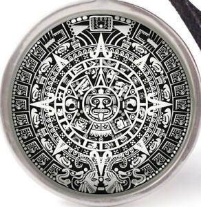 "CALENDAR AZTEC MAYAN INCA pendant 925 Sterling Silver 20"" necklace women men"