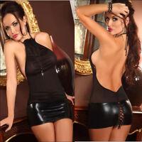 sexy Mini-Kleid Abendkleid|Transparent Lack-Wäsche rückenfrei für Party 34/36/38