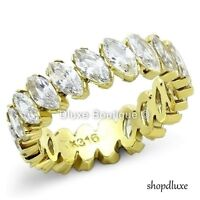 4.55 CT MARQUISE CUT CZ 14K GP STAINLESS STEEL ETERNITY BAND WOMEN'S SIZE 5-10
