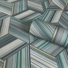 Metallic Geometric Stripes Wallpaper Cube Teal Blue Gold Belgravia Hudson