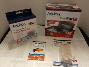 Lot Aqueon QuietFlow 10 LED PRO Aquarium Power Filter + Cartridges + Reducers