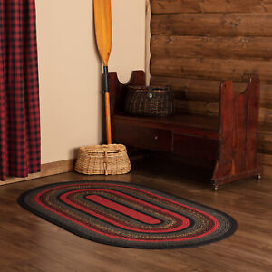 VHC Cumberland Red Gray Black Tan Country Farmhouse Oval Braided Rug W/Pad