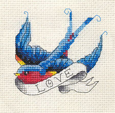 BLUEBIRD TATTOO 'LOVE', Swallow Bird, Full counted cross stitch kit + materials