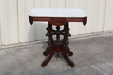 Ornate Walnut Victorian Eastlake Marble Top Table w Original Finish ~Ca.1880