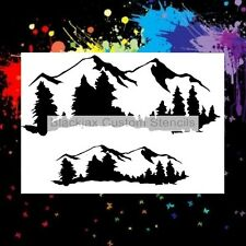 Rocky Mountains With Trees 02 Airbrush Stencil,Template