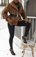 Designer opera Style Crop brown Mink Fur coat jacket bolero stroller S-M 4-10
