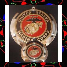 HARLEY DAVIDSON CHROME DERBY COVER 3 HOLE USMC FULL COLOR 1984-1999 MODELS