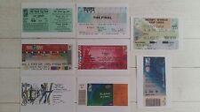 Lot 8 Photos Ticket billet toutes les Finales de coupe du Monde de Rugby