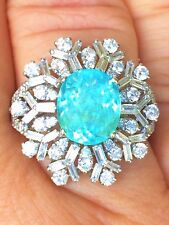 18K GOLD 7.64 CT GIA CERTIFIED AAA++ NEON BLUE PARAIBA TOURMALINE DIAMOND RING!!