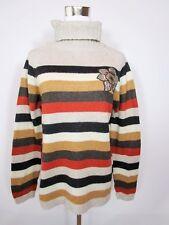Womens Vtg Chunky Casual Wooly Stripe Roll Neck Winter Sweater Jumper sz L BA79