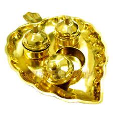 Leaf Shaped Thali with Haldi Kumkum Container Hindu Puja Brass Plate OmPoojaShop