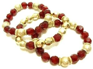3 WOMENS FASHION STRETCH BRACELETS RED & GOLD TONE ACRYLIC BEADS HAND CRAFTED