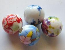 30pcs 10mm Round Porcelain/Ceramic Beads - Random Mix