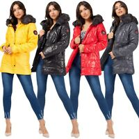 Ladies Women's Winter Padded Quilted Fur Lined Hooded Jacket Puffer Bubble Coat