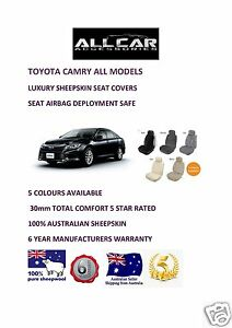 Sheepskin Car Seat Covers to fit Toyota Camry 2000-ON , Airbag Safe, 5 Colours.