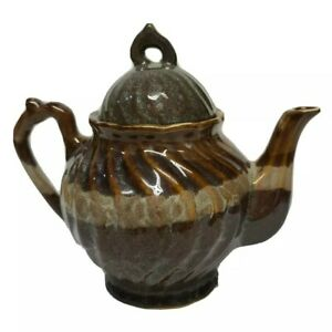 """Home Essentials and Beyond Brown Tan Ceramic Teapot 7.5"""" tall"""