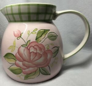 Hand painted rose pink/green pitcher ceramic/porcelain mint condition Beautiful