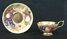 AYNSLEY CABINET TEA CUP & SAUCER ORCHARD GOLD C746 PAINTED FRUIT SIGNED N.BRUNT