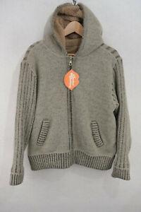 VINTAGE Mens SHERPA FLEECE Hooded Sweatshirt URBAN FESTIVAL Hooded Zip Medium