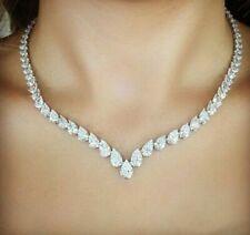 20.00CT Pear Cut D/VVS1 Diamond Tennis Necklace Solid 14K White Gold Over