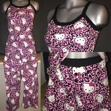 Womens Hello Kitty Sanrio Pink Leopard Print Pajama Set Tank Top Lounge Pants XL