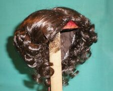 "doll wig dark brown 10"" to 10.5"" Glorex/Switzerland middle parting with buns"