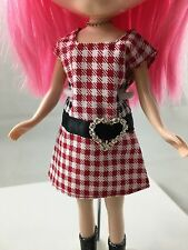 Blythe Doll Clothing, Red Checkered Dress, Heart Charm