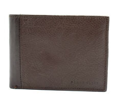 Perry Ellis Mens Bifold Leather Wallet Brown With Removable Card Holder